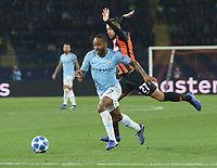 KHARKOV, UKRAINE - OCTOBER 23: Raheem Sterling of Manchester City in action during the Group F match of the UEFA Champions League between FC Shakhtar Donetsk and Manchester City at Metalist Stadium on October 23, 2018 in Kharkov, Ukraine. (Photo by MB Media/Getty Images)