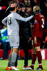 Liverpool manager Jurgen Klopp, Alisson Becker and Fabinho of Liverpool celebrate victory over Barcelona to make the Champions League Final - Mandatory by-line: Robbie Stephenson/JMP - 07/05/2019 - FOOTBALL - Anfield - Liverpool, England - Liverpool v Barcelona - UEFA Champions League Semi-Final 2nd Leg