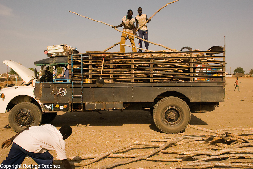 Two young men unload poles from a truck at the grass market, in the town of Abyei.