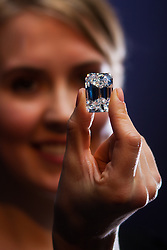"London, February 13th 2015. The perfect Valentine's day gift? Undoubtedly, for those who can afford this extremely rare 100-carat ""D"" colour diamond, emerald cut,  the highlight in  New York this spring at Sotheby's Magnificent Jewels auction and is expected to fetch $19-25 million. // Contact/payment Paul Davey tel: +44 (0) 7966016296"