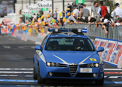 Police at finish line of 2nd stage of 92nd Giro d'Italia in Trieste, on May 10, 2009, in Trieste, Italia.  (Photo by Vid Ponikvar / Sportida)