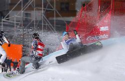 07.12.2010,AUT, Schlegelkopf, Lech am Arlberg, LG Snowboard, FIS Worldcup SBX, im Bild rot Holland Nate, USA und blau Visintin Omar, ITA, EXPA Pictures © 2010, PhotoCredit: EXPA/ P. Rinderer