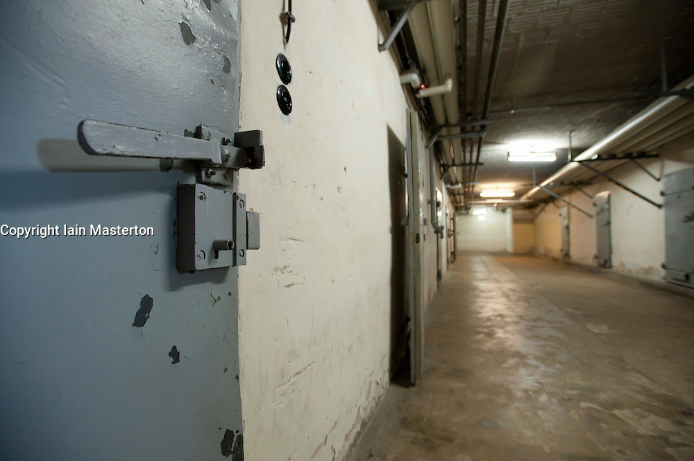 Underground cells in U-boat bunker at state secret security police or STASI prison at Hohenschönhausen in Berlin Germany
