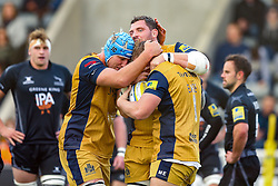 Mitch Eadie of Bristol Rugby celebrates with Jordan Crane and James Phillips after scoring a try - Rogan Thomson/JMP - 08/10/2016 - RUGBY UNION - Kingston Park - Newcastle, England - Newcastle Falcons v Bristol Rugby - Aviva Premiership.