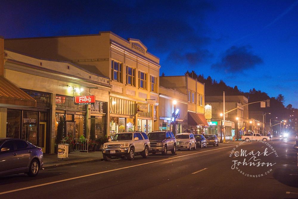 Downtown Astoria, Oregon at night