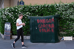 A graffiti about the Corona Virus is seen in Paris during COVID-19 as a strict lockdown is effective to stop the spread of the Coronavirus disease. Shot in Paris, France on April 27, 2020. Photo by Aurore Marechal/ABACAPRESS.COM