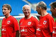 Tommy Charlton of England over 60's in the team line-up before the world's first Walking Football International match between England and Italy at the American Express Community Stadium, Brighton and Hove, England on 13 May 2018. Picture by Graham Hunt.