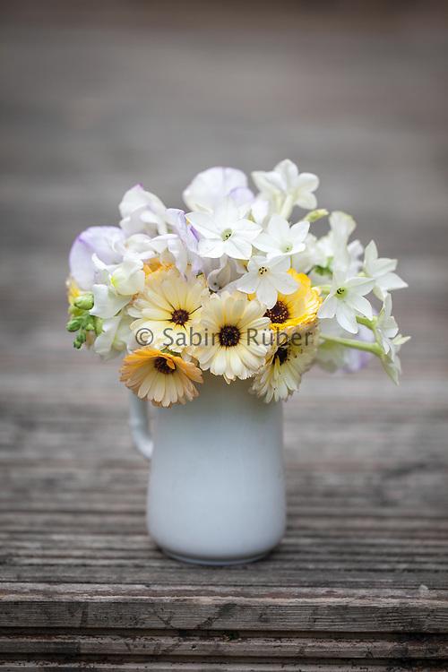 Flower arrangement with Calendula 'Snow Princess', Nicotiana 'Nicki's White', Lathyrus odoratus 'Romeo' and Antirrhinum majus 'Snowflake'