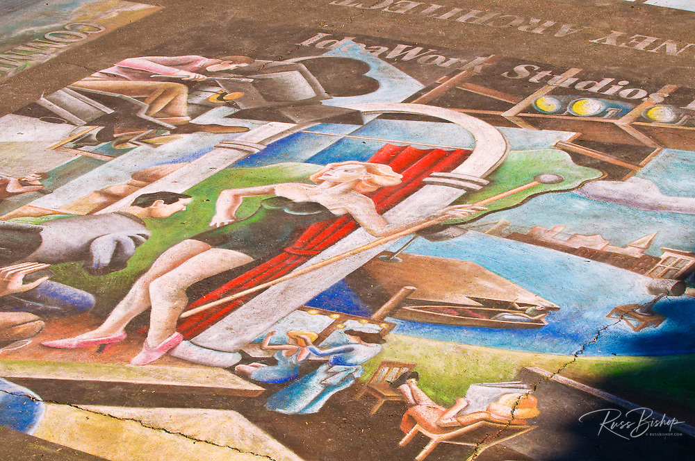 I madonnari chalk drawings at the Santa Barbara Mission (Queen of the missions), Santa Barbara, California