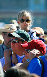 05 May 2013. New Orleans, Louisiana,  USA. .New Orleans Jazz and Heritage Festival. JazzFest..A young fan enjoys Daryl Hall and John Oates..Photo; Charlie Varley.