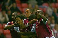 Photo: Andrew Unwin.<br />Sunderland v West Ham United. The Barclays Premiership.<br />01/10/2005.<br />West Ham celebrate Yossi Benayoun's (L) equaliser.