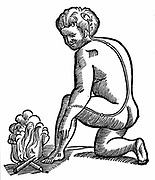 Involuntary movement. Descartes' idea of how impulses from limbs reach the brain. He believed all nerves to be hollow. From Rene Descartes' 'Opera Philosophica', 1692. Woodcut