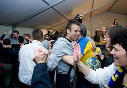 Matjaz Brumen celebrates with fans at party after winning the  Final match of Slovenian Men Handball Cup between RK Cimos Koper and RK Celje Pivovarna Lasko, on April 19, 2009, in Arena Bonifika, Koper, Slovenia. Cimos Koper won 24:19 and became Slovenian Cup Champion. (Photo by Vid Ponikvar / Sportida)