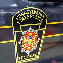 Harrisburg, PA / USA - January 8, 2020: The Pennsylvania State Police Trooper emblem, on display at the annual PA Farm Show.