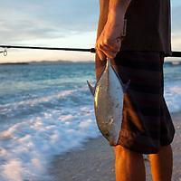 Fiji, Namotu Island, shoreline fishing, spinning, whipping for Blue Fin Trevally, Papio, sunrise