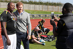 BATH, ENGLAND - APRIL 07: Prince Harry, Patron of the Invictus Games Foundation, poses with a competitor as he attends the UK team trials for the Invictus Games Toronto 2017 held at the University of Bath on April 7, 2017 in Bath, England. The Invictus Games is the only international sport event for wounded, injured and sick servicemen and women, both serving and veteran and was an idea developed by Prince Harry after he visited the Warrior Games in Colorado USA. (Photo by Chris Jackson - WPA Pool/Getty Images)