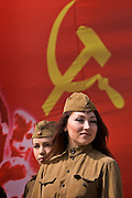 Moscow, Russia, 08/05/2005..Russia celebrates the 60th anniversary of the end Second World War, generally referred to in Russia as the Great Patriotic War.  Girls in wartime uniforms during a parade in central Moscow...