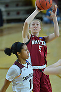 March 18, 2016; Tempe, Ariz;  New Mexico State Aggies forward Brook Salas (5) shoots a jumper during a game between No. 2 Arizona State Sun Devils and No. 15 New Mexico State Aggies in the first round of the 2016 NCAA Division I Women's Basketball Championship in Tempe, Ariz. The Sun Devils defeated the Aggies 74-52.