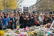 Parisians gathered in Republic Square and in front of the locations where the attacks took place to observe 1 minute of silence in memory of missing persons during the attack of Friday, November 13<br /> ©Exclusivepix Media