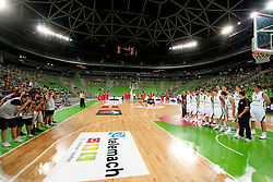 Photographers taking pictures of Slovenia team during friendly basketball match between National teams of Slovenia and Montenegro of Adecco Ex-Yu Cup 2011 as part of exhibition games before European Championship Lithuania 2011, on August 7, 2011, in Arena Stozice, Ljubljana, Slovenia. Slovenia defeated Crna Gora 86-79. (Photo by Vid Ponikvar / Sportida)