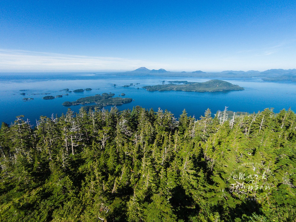 Aerial photograph of Sitka Sound & Mt. Edgecumbe on Kruzof Island, from Harbor Mountain, Baranof Island, Sitka, Alaska, USA