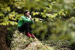 Portrait of Gaj Trcek meditating next to a river Kokra, on October 8, 2021 in Kranj, Slovenija. Photo by Vid Ponikvar / Sportida