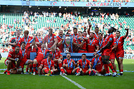 The victorious Saracens players with the trophy during the Gallagher Premiership Rugby Final match between Exeter Chiefs and Saracens at Twickenham, Richmond, United Kingdom on 1 June 2019.