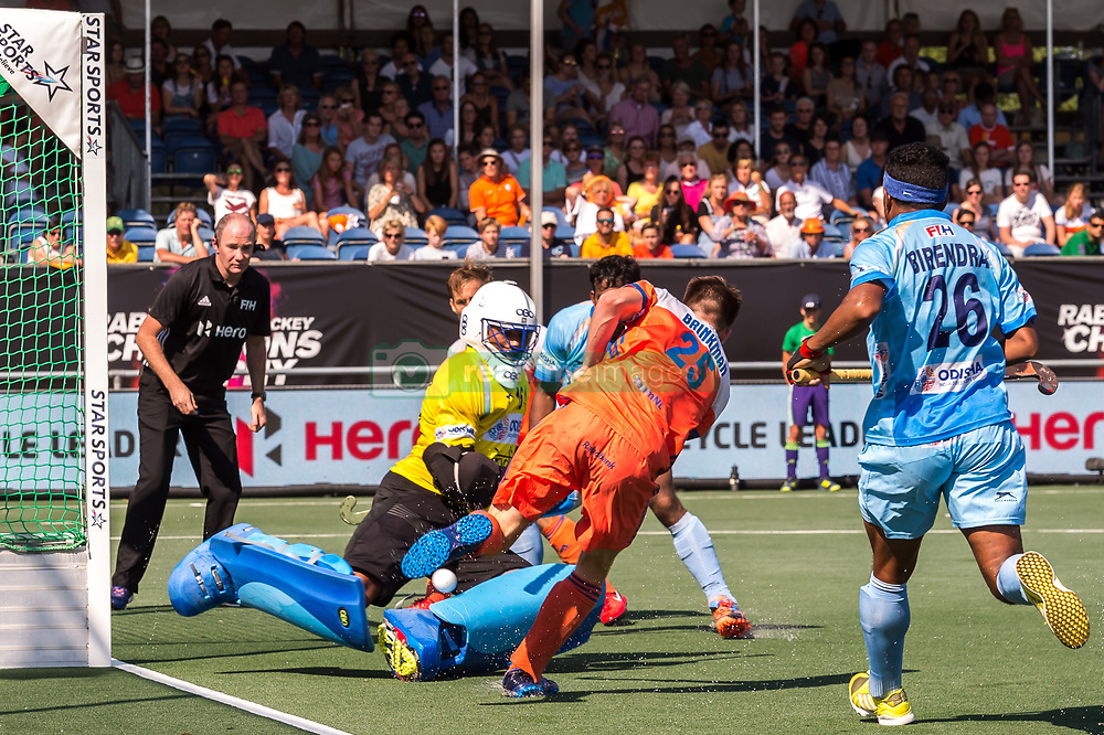 (L-R) goalkeeper Sreejehs Parattu Raveendran of India, Amit Rohidas of India, Thierry Brinkman of The Netherlands, Birenda Lakra of India during the Champions Trophy match between the Netherlands and India on the fields of BH&BC Breda on June 30, 2018 in Breda, the Netherlands