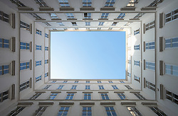 Apartment building courtyard from below Vienna