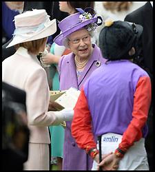 The Queen talks to her jockey Ryan Moore in the parade ring. Before her horse Estimate wins the Gold Cup at Royal Ascot 2013 Ascot, United Kingdom,<br /> Thursday, 20th June 2013<br /> Picture by Andrew Parsons / i-Images