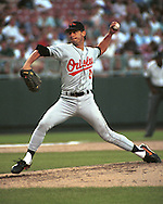Baltimore Oriole Jamie Moyer during game action against the Kansas City Royals at Kauffman Stadium in Kansas City, Missouri in 1995.