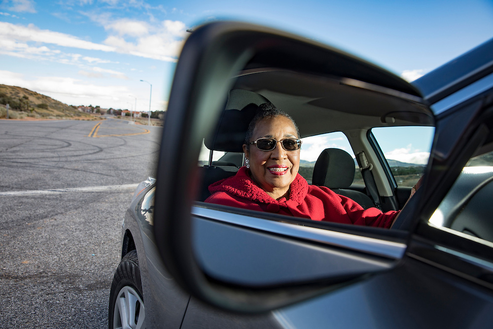 Marcia Johnson, 70, with her car in Palmdale, California on Monday, February 20, 2017. Marcia took the AAARP Smart Driver Course to sharpen her knowledge of driving despite never having had an accident.