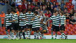 LIVERPOOL, ENGLAND - Wednesday, August 17, 2011: Sporting Clube de Portugal's Alberto Coelho celebrates scoring the second goal against Liverpool during the first NextGen Series Group 2 match at Anfield. (Pic by David Rawcliffe/Propaganda)