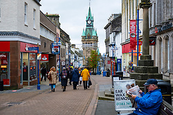 Dunfermline, Scotland, UK. 11 November 2020.   Views of the High Street shopping precinct in Dunfermline town centre. Fife is being moved into the more severe level 3 of the coronavirus lockdown on Friday 13 November by the Scottish Government. This will mean tighter controls and opening hours of  bars and restaurants and the selling of alcohol. Iain Masterton/Alamy Live News