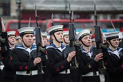 © licensed to London News Pictures. London, UK 21/10/2012. Cadets marching at Sea Cadets annual Trafalgar Day Parade in Trafalgar Square, London. Photo credit: Tolga Akmen/LNP