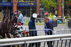 © London News Pictures. 03/10/2015. Manchester, UK. Hundreds attend all night protest 'rave' in Piccadilly Gardens, Manchester, on the eve of the start of the Conservative Party Conference which is taking place this week in Manchester. Photo credit Graham Eva/LNP