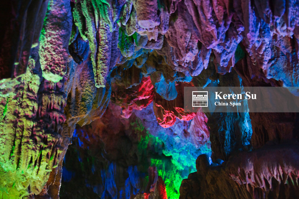 Ludi (Reed Flute) Cave, limestone cave formation, near Guilin, Guangxi, China