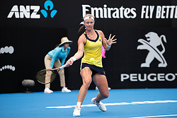 January 11, 2019 - Sydney, NSW, U.S. - SYDNEY, AUSTRALIA - JANUARY 11: Kiki Bertens (NED) hits a forehand in her game against Ashleigh Barty (AUS) at The Sydney International Tennis on January 11, 2018, at Sydney Olympic Park Tennis Centre in Homebush, Australia. (Photo by Speed Media/Icon Sportswire) (Credit Image: © Steven Markham/Icon SMI via ZUMA Press)