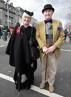 Alice Leahy and Charles Best from Rathmines on O'Connell Street during the RTE Reflecting The Rising Event .<br />Photo: Tony Gavin 28/3/2016