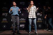 DALLAS, TX - MAY 10:  Jessica Aguilar faces off with Cortney Casey during the UFC 211 Ultimate Media Day at the House of Blues Dallas on May 10, 2017 in Dallas, Texas. (Photo by Cooper Neill/Zuffa LLC/Zuffa LLC via Getty Images)