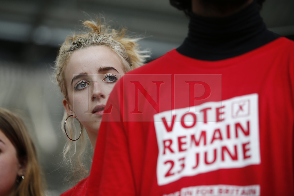 © Licensed to London News Pictures. 22/06/2016. London, UK. Labour IN campaigners take part at a rally for a vote to remain in the European Union on Wednesday, 22 June 2016 in King's Cross, London. Photo credit: Tolga Akmen/LNP