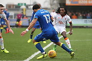 AFC Wimbledon striker Andy Barcham (17) dribbling and driving into the box during the EFL Sky Bet League 1 match between AFC Wimbledon and Blackpool at the Cherry Red Records Stadium, Kingston, England on 20 January 2018. Photo by Matthew Redman.