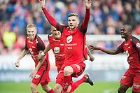 Fotball<br /> 21.04.2018<br /> Eliteserien<br /> Brann Stadion<br /> Brann - Stabæk<br /> Taijo Teniste (L) Viti Wormgoor (3R) jubler med målscorer Gilli Rolantsson (2R) , Gilbert Koomson (R) , Brann<br /> Foto: Astrid M. Nordhaug