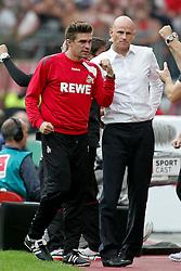 17.09.2011,  BayArena, Leverkusen, GER, 1.FBL, Bayer 04 Leverkusen vs 1. FC Koeln, im Bild.Patrick Weiser (L) und Stale Solbakken (Trainer Koeln) freuen sich nach dem 0:3..// during the 1.FBL, Bayer Leverkusen vs 1. FC Köln on 2011/09/17, BayArena, Leverkusen, Germany. EXPA Pictures © 2011, PhotoCredit: EXPA/ nph/  Mueller *** Local Caption ***       ****** out of GER / CRO  / BEL ******