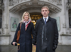 © Licensed to London News Pictures. 31/01/2017. London, UK. Jon Platt and his wife Sally arrive at the Supreme Court.  Isle of Wight council attempted to fine Mr Platt for taking his daughter on holiday in term time - but magistrates overturned the fine. The Council is appealing a High Court ruling again backing the father. Photo credit: Peter Macdiarmid/LNP