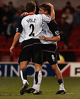 Photo. Daniel Hambury.<br /> Carling Cup.<br /> Forest vFulham. 10/11/2004.<br /> Fulham's Brian McBride celebrates his goal