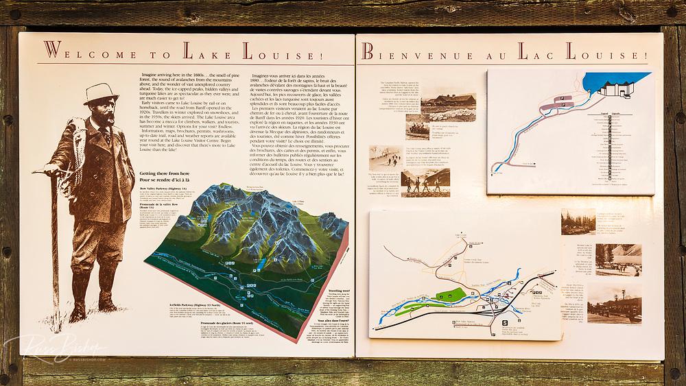 Interpretive sign at Lake Louise, Banff National Park, Alberta, Canada