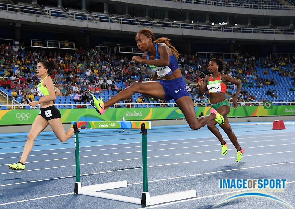 Aug 15, 2016; Rio de Janeiro, Brazil; Dalilah Muhammad (USA) wins women's 400m heat in 55.33 at Estadio Olimpico Joao Havelange in the Rio 2016 Summer Olympic Games.