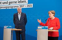 DEU, Deutschland, Germany, Berlin, 03.07.2017: Bayerns Ministerpräsident Horst Seehofer (CSU) und Bundeskanzlerin Dr. Angela Merkel (CDU) bei einer Pressekonferenz anlässlich der Vorstellung des gemeinsamen Wahlprogramms von CDU/CSU.