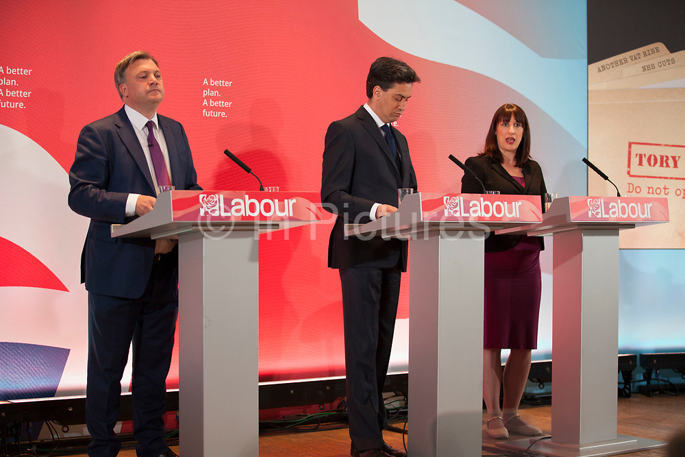 London, UK. Wednesday 29th April 2015. Labour Party Shadow Secretary of State for Work and Pensions Rachel Reeves speaks at a General Election 2015 campaign event on the Tory threat to family finances, entitled: The Tories' Secret Plan. Held at the Royal Institute of British Architects.